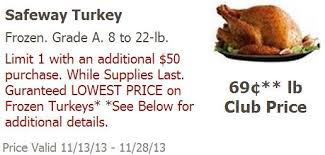 safeway turkey price match deal