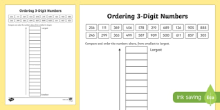 place value ordering 3 digit numbers activity sheet scottish