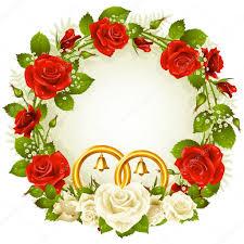 blumen zur goldenen hochzeit gestell weiße und rote und goldene eheringe vektor