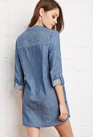 forever 21 embroidered denim dress in blue lyst