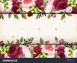 invitation card red pink roses vector stock vector 205381183