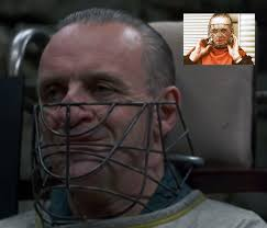 anthony hopkins testing different masks for hannibal lecter in the