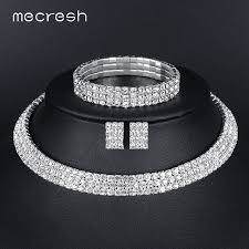 bridal earrings bracelet sets images Mecresh silver color circle crystal bridal jewelry sets african jpg