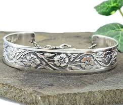antique sterling silver bracelet images Antique style forget me not flower cuff bracelet in sterling silver jpg