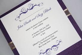 wedding invitations glasgow wedding invitation cadburys purple and gold pocketfold vintage