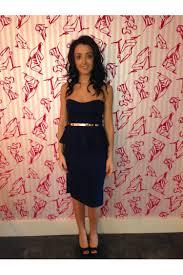 clearanc emma navy blue belted bandeau strapless midi peplum dress