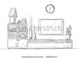 linear sketch interior bookcase dresser tv stock vector 615914147