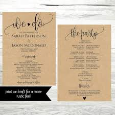 wedding ceremony program free wedding program templates wedding program ideas