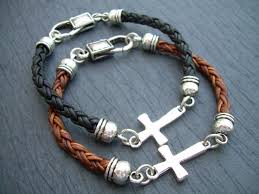 cross bracelet leather images Men 39 s leather bracelets urban survival gear usa jpg