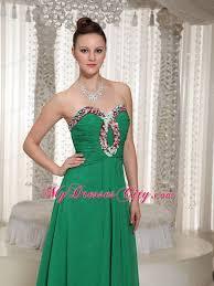 pretty sweetheart beaded ruching green chiffon junior prom dress