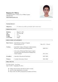 Resume Format For Ojt Resume Sample For Ojt Hotel And Restaurant Management Augustais