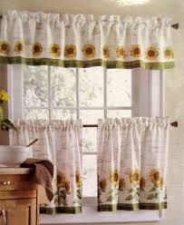 Sunflower Valance Curtains Sunflowers 3 24l Tiers Valance Set Kitchen Curtains