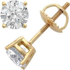 gold diamond stud earrings 18k yellow gold 4 prong diamond stud earrings 1ct