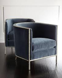 Blue Velvet Accent Chair Velvet Bamboo Motif Accents Chair