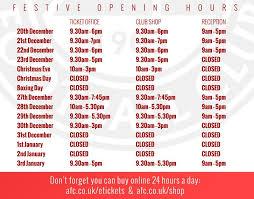 aberdeen fc festive opening times club shop ticket office