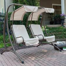 Lounge Swing Chair White Grey Two Seat Patio Swing With Canopy Mixed Mossy Stoop