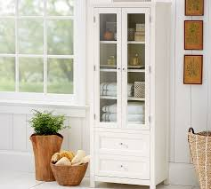 Bathroom Floor Storage Cabinets White Classic Linen Closet Pottery Barn