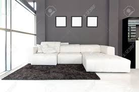 modern living room interior with white furniture stock photo