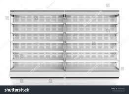 pair empty supermarket refrigerator showcase isolated stock