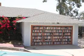outdoor tidy wooden bookshelves as model of garage door decals