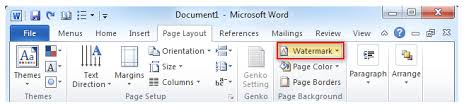 word layout pictures where is the watermark command in microsoft word 2007 and 2010