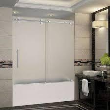 frosted frameless bypass sliding bathtub doors shower