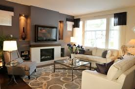 modern living space with drak grey accent wall living spaces