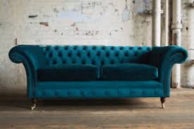 teal chesterfield sofa modern handmade 3 seater plush blue teal velvet cushion chesterfield