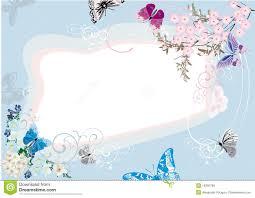 blue butterfly and flower frame design stock vector illustration