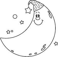 crescent moon coloring page moon clip black and white