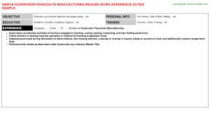 manufacturing job resume supervisor parachute manufacturing resume sample