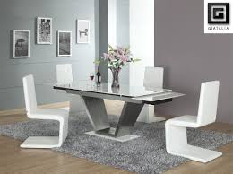 Simple White Contemporary Dining Room Sets Furniture For Ideas - Black and white contemporary dining table