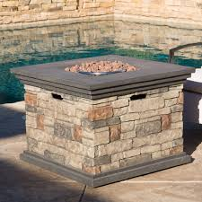 Fire Pit Glass Stones by Crawford Outdoor Square Liquid Propane Fire Pit With Lava Rocks