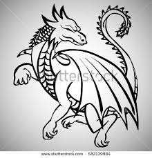 illustration hand drawn dragon tattoo design stock vector