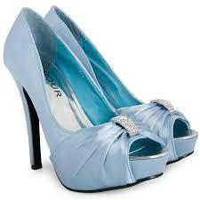 Light Blue High Heels Ladies Light Blue Bridal Platform Heeled Womens Diamante Peep Toe