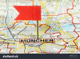 Munich Germany Map by Munchen Munich Famous City Germany Red Stock Photo 76722547