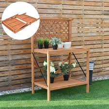 Wooden Potting Benches Merry Products Wood Potting Bench With Recessed Storage Free