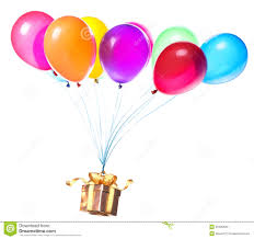 balloons gift gift hanging on color balloons stock image image 35490623