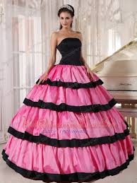 and black quinceanera dresses pink and black gown strapless floor length taffeta