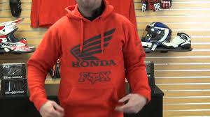 fox motocross hoodies fox racing honda hoody review youtube