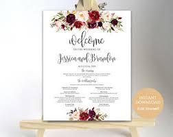 wedding program poster wedding program poster wedding program sign wedding ceremony