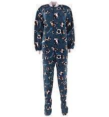 lazy one blue cow footed pajamas for adults
