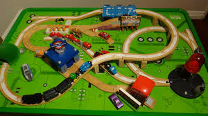 thomas the tank engine table top thomas the tank engine brio and disney wooden cars play train table