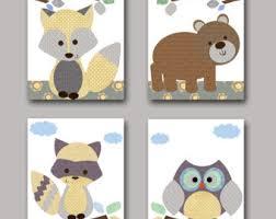 Raccoon Nursery Decor Owl Fox Baby Prints Etsy