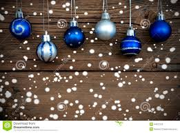 blue and silver balls with snow stock image image