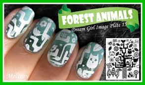 forest animals konad stamping nail art design tutorial using dream
