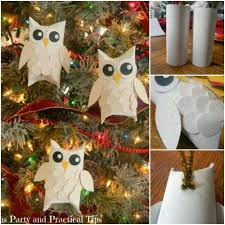 diy snow owl ornaments from paper rolls beesdiy