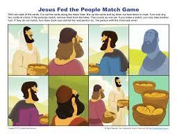 jesus feeds 5000 match game printable bible activities for children