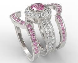 trio wedding sets trio wedding rings filigree pink sapphire and diamond trio wedding
