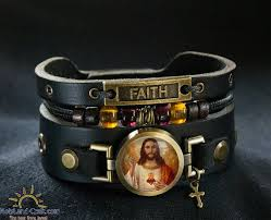 leather bracelet with cross images Jesus christ leather bracelet with cross buy holy land craft jpg